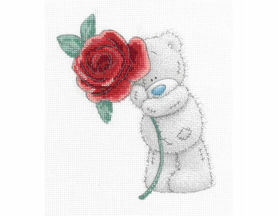 Tatty Ted Rose Printed Cross Stitch Kit
