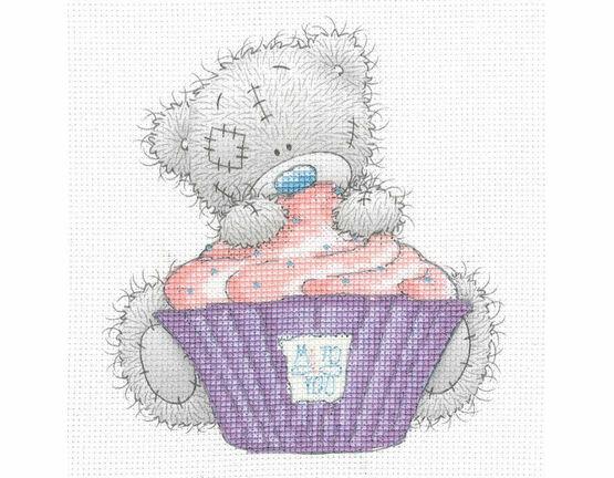 Tatty Ted Cupcake Printed Cross Stitch Kit