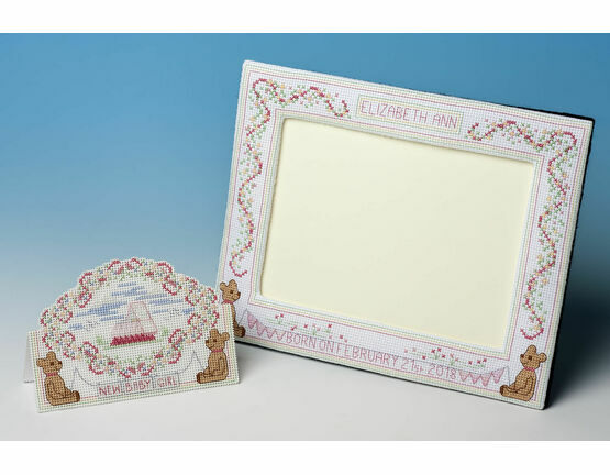 Baby Girl Frame + New Baby Girl Cross Stitch Card Kit Cross Stitch Kit