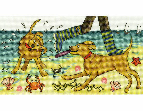 Beach Walkies Cross Stitch Kit