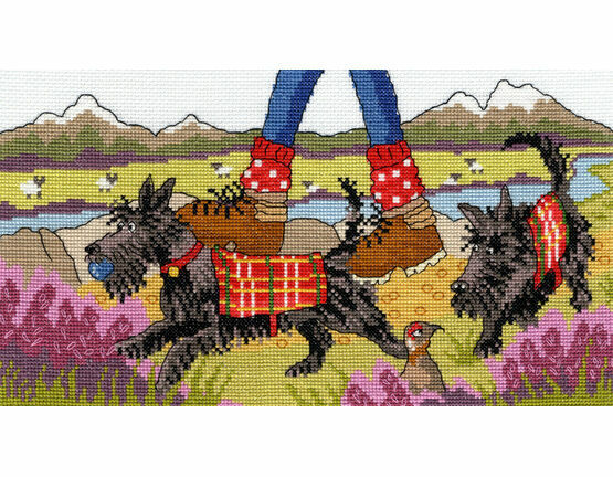 Highland Walkies Cross Stitch Kit