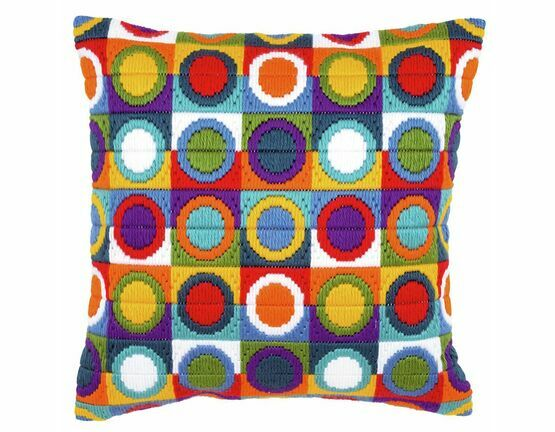 Bold Circles Long Stitch Cushion Panel Kit