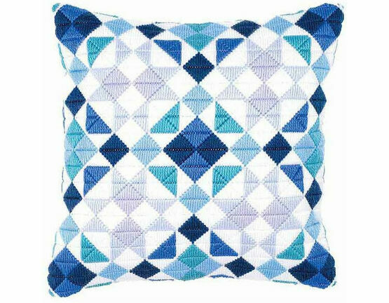 Blue Triangles Long Stitch Cushion Panel Kit