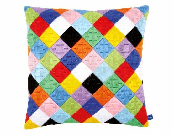Colourful Diamonds Long Stitch Cushion Panel Kit