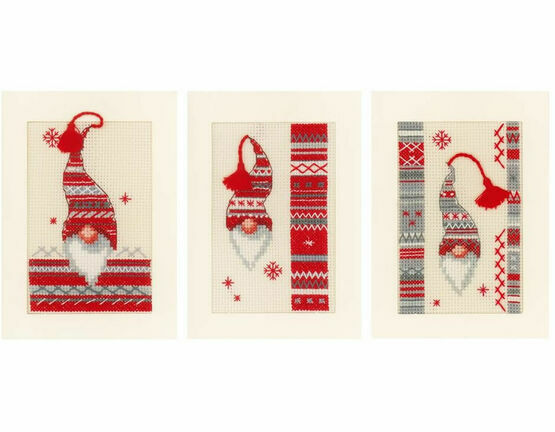 Christmas Elf Cross Stitch Christmas Card Kits (Set of 3)
