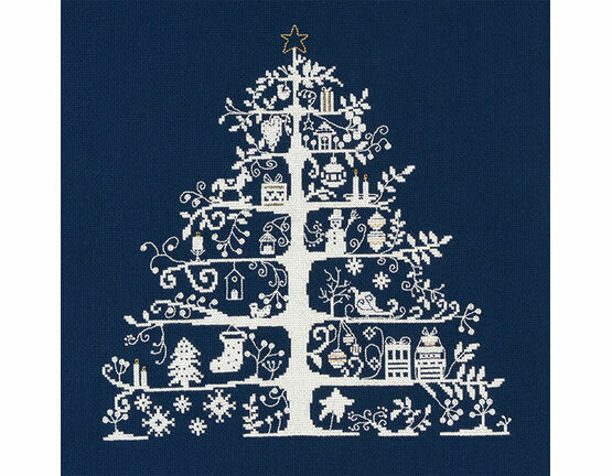 Christmas Tree Blue Cross Stitch Kit