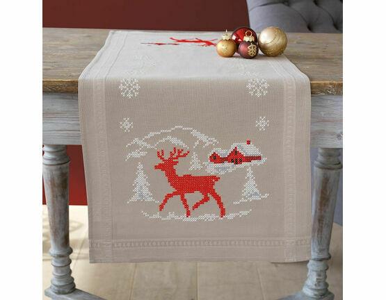 Norwegian Winter Printed Cross Stitch Table Runner Kit