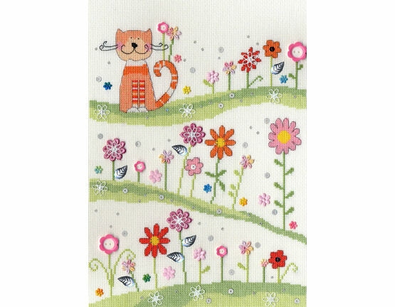 Daisy Patch Cat Cross Stitch Kit