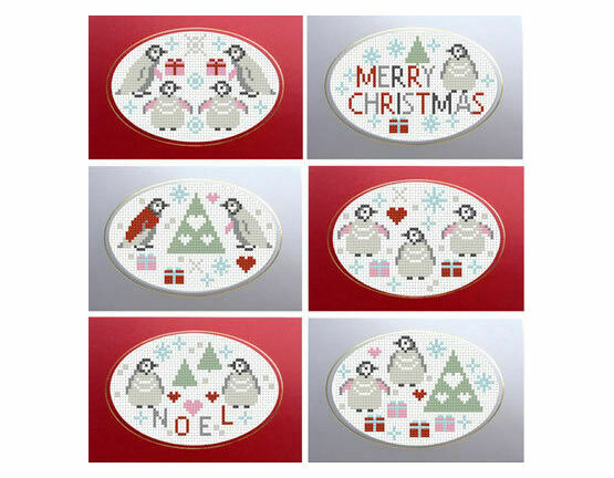 Penguins Christmas Greetings Cross Stitch Card Kits (Set Of 6)
