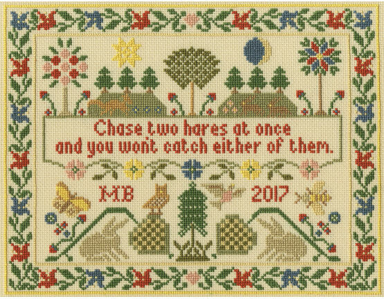 Two Hares Cross Stitch Kit