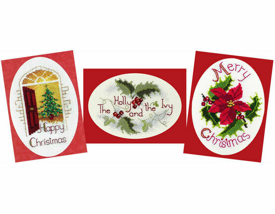 Christmas Greetings Cross Stitch Card Kits - Set Of 3