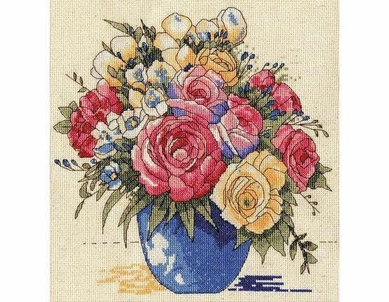 Pastel Floral Vase Cross Stitch Kit