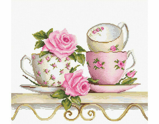 Stack Of Teacups Cross Stitch Kit