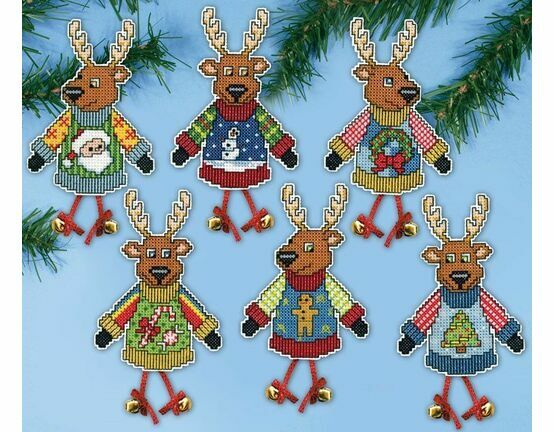 Christmas Jumper Reindeer Cross Stitch Ornament Kit