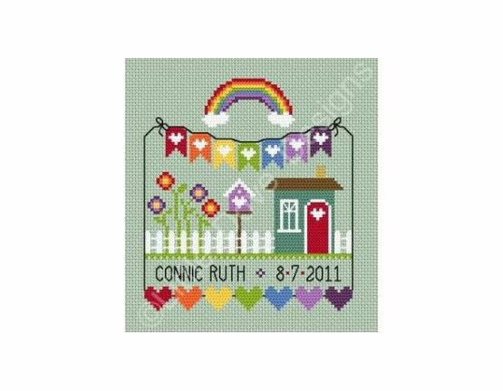Rainbow Birth Sampler Cross Stitch Kit