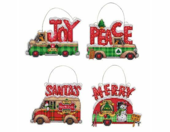 Holiday Truck Ornaments Set Cross Stitch Kit