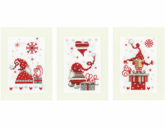 Christmas Gnomes Cross Stitch Card Kits (Set of 3)