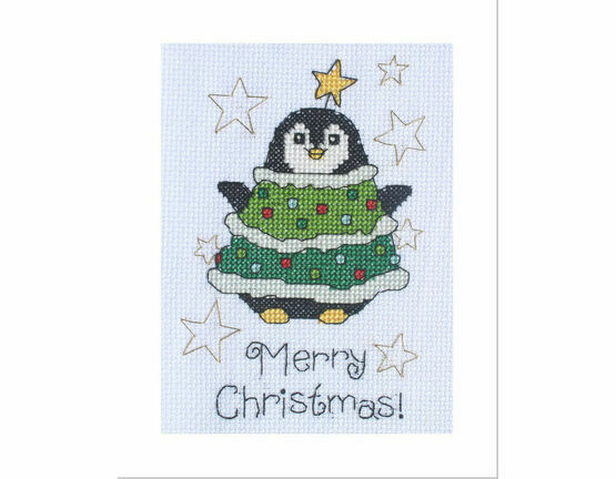 Daisy Penguin Cross Stitch Christmas Card Kit