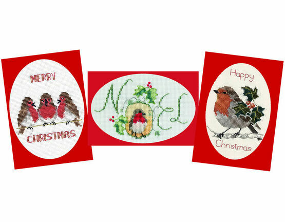 Robin Collection - Set of 3 Cross Stitch Christmas Card Kits