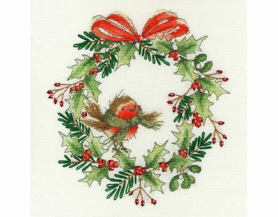 Robin Wreath Cross Stitch Kit