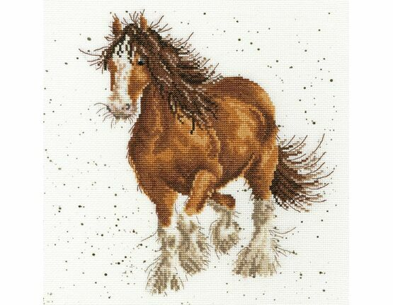 Feathers Galloping Horse Cross Stitch Kit