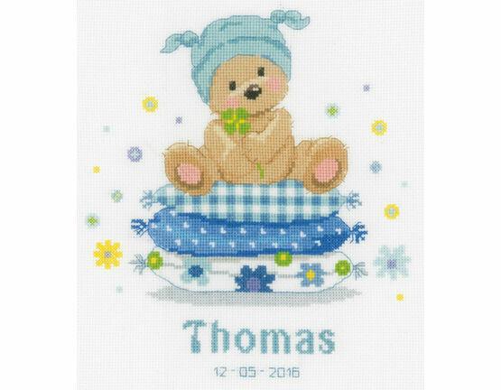Bear On Pillow Cross Stitch Birth Record Kit