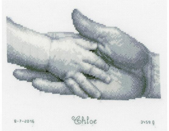 Hands Cross Stitch Birth Record Kit