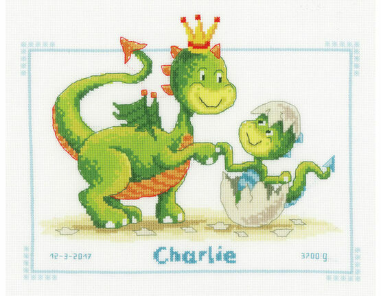 Dragons Cross Stitch Birth Record Kit