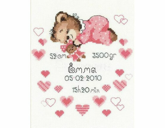 Girl Birth Announcement Cross Stitch Kit