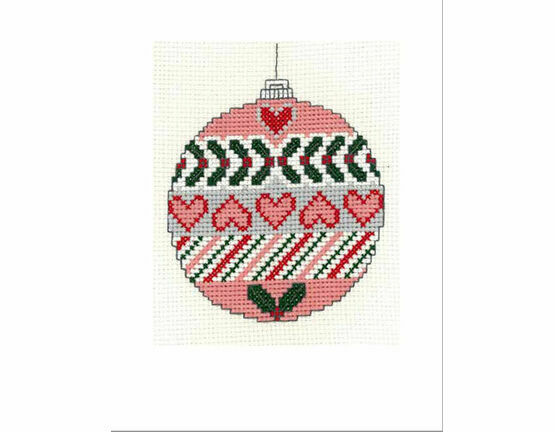 Christmas Heart Bauble Cross Stitch Christmas Card Kit