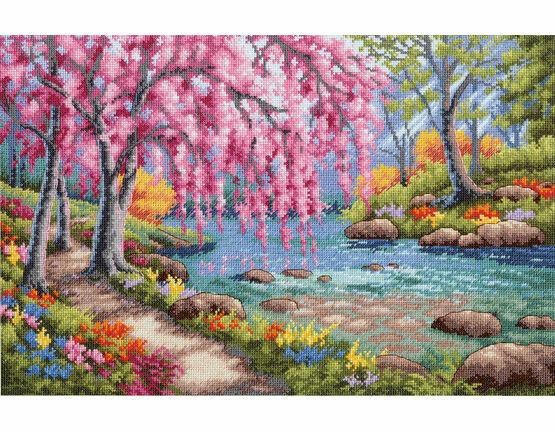 Cherry Blossom Creek Cross Stitch Kit