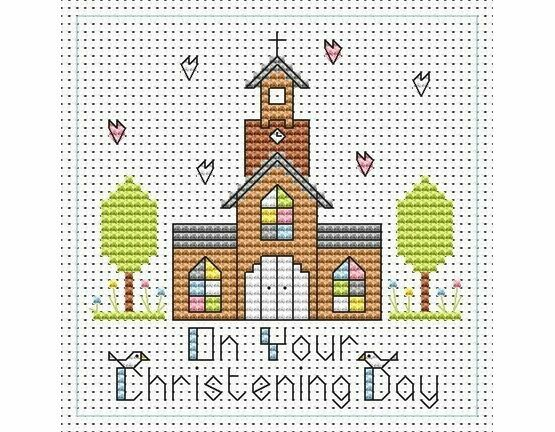 Tall Church Christening Boy Cross Stitch Card Kit