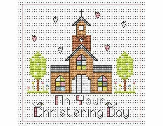 Tall Church Christening Girl Cross Stitch Card Kit