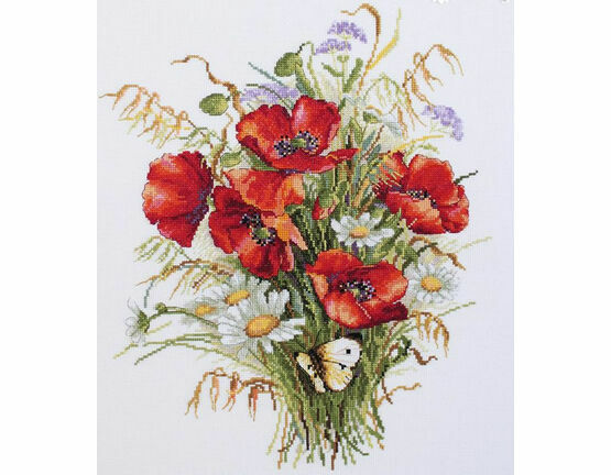 Poppies And Oats Cross Stitch Kit