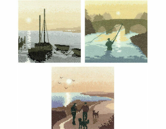 Heritage Crafts Set Of 3 Silhouette Cross Stitch Kits - Safe Harbour, Morning Walk, The Angler