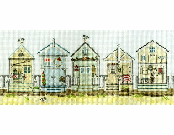 New England: Beach Huts Cross Stitch Kit