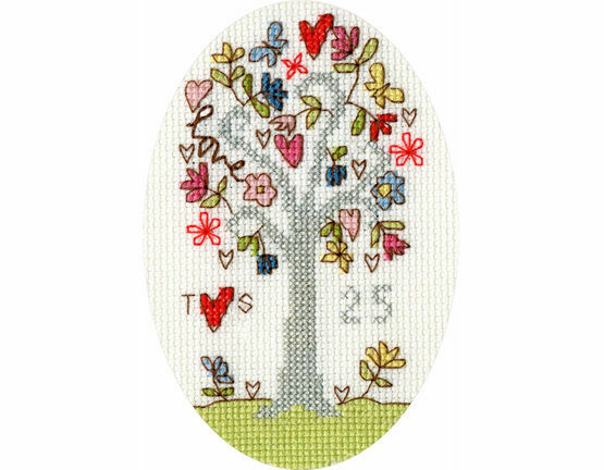 Silver Celebration Cross Stitch Card Kit
