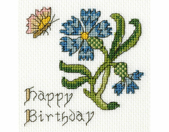 Happy Birthday Cornflower Cross Stitch Card Kit