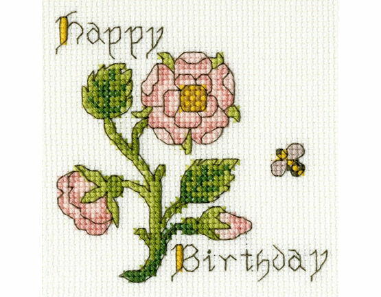 Rose Cross Stitch Card Kit