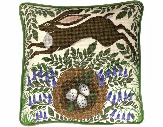 Spring Hare Tapestry Cushion Panel Kit