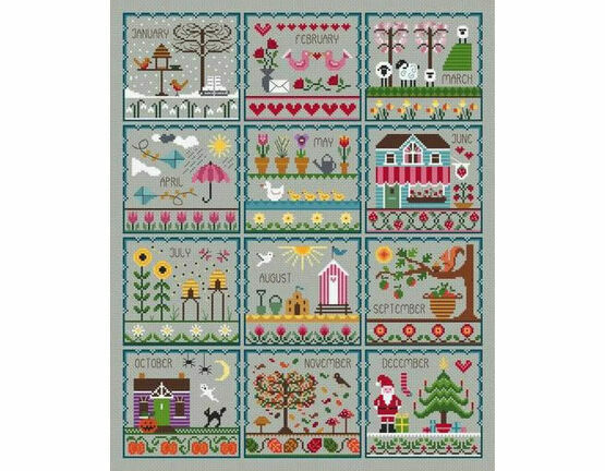 Little Dove's Months Of The Year Cross Stitch Kit - Grey
