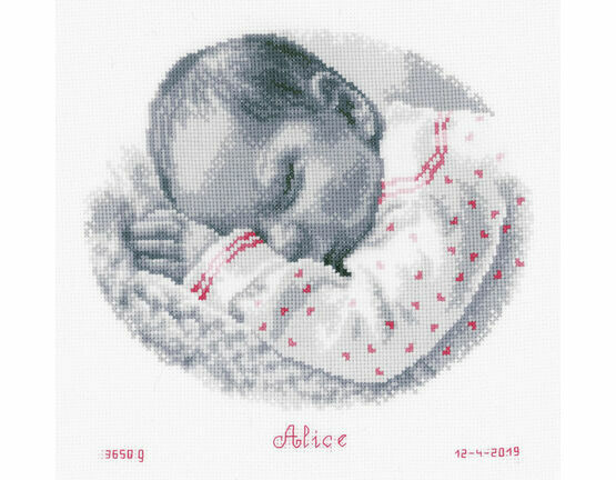 Sleeping Baby Birth Record Cross Stitch Kit