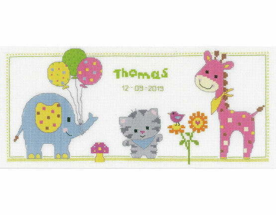 Kitten & Friends Birth Sampler Cross Stitch Kit
