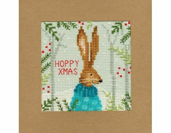 Xmas Hare Cross Stitch Christmas Card Kit
