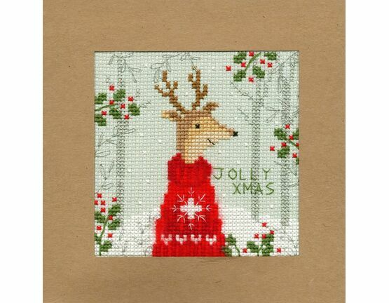 Xmas Deer Cross Stitch Christmas Card Kit