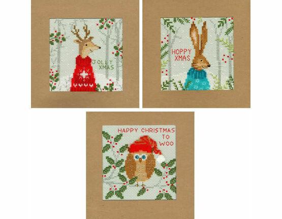 Xmas Deer, Hare & Owl Cross Stitch Christmas Card Kits