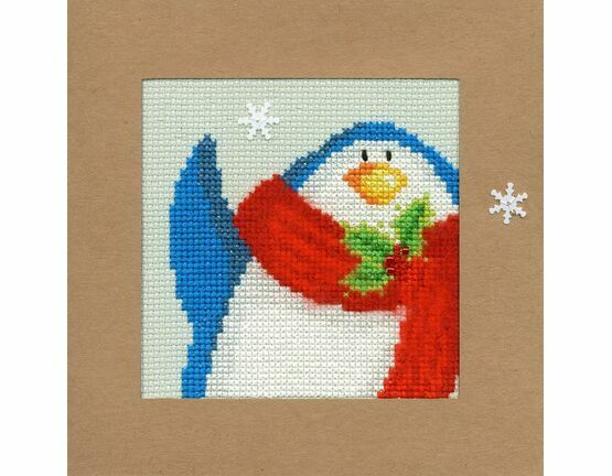 Snowy Penguin Cross Stitch Christmas Card Kit