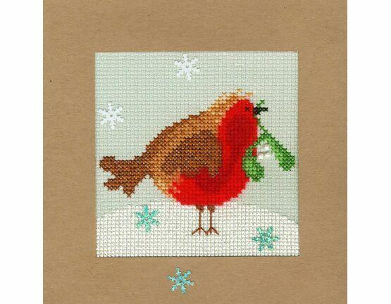 Snowy Robin Cross Stitch Christmas Card Kit