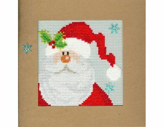 Snowy Santa Cross Stitch Christmas Card Kit