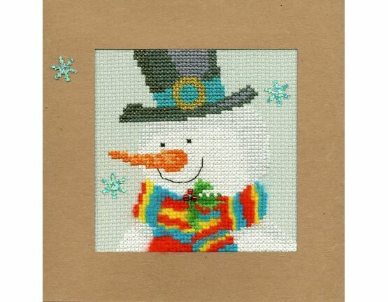 Snowy Man Cross Stitch Christmas Card Kit